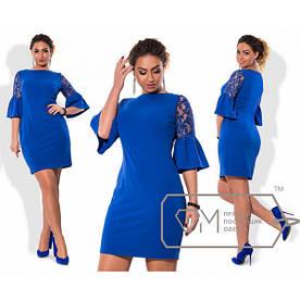 Платье больших размеров от 48 до 54 отделка кружево, рукав волан арт 577/1-43