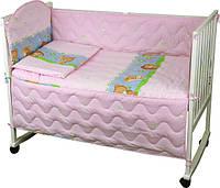 """Детский постельный набор в кроватку 120х60см 4 предмета розовый ТМ """"Руно"""""""