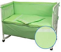 """Детский постельный набор в кроватку 120х60см 4 предмета салатовый Карапузик ТМ """"Руно"""""""