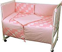 """Детский постельный набор в кроватку 120х60см 4 предмета розовый Клеточка ТМ """"РУНО"""""""