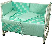 """Детский постельный набор в кроватку 120х60см 4 предмета зеленый Клеточка ТМ """"РУНО"""""""