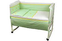 """Детский постельный набор в кроватку 120х60см 4 предмета салатовый Лапушка ТМ """"Руно"""""""