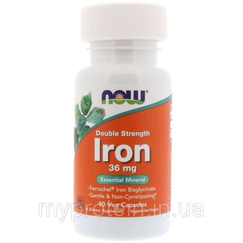 NOW Бисглицинат железа Iron 36 mg double strength 90 veg caps