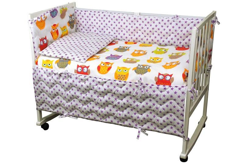 """Детский постельный набор в кроватку 120х60см 4 предмета Совы ТМ """"Руно"""""""