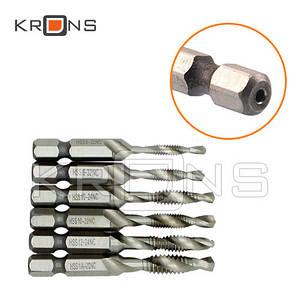 Метчики, сверло-метчик 6 шт., нарезание резьбы 3.5-6.4 мм
