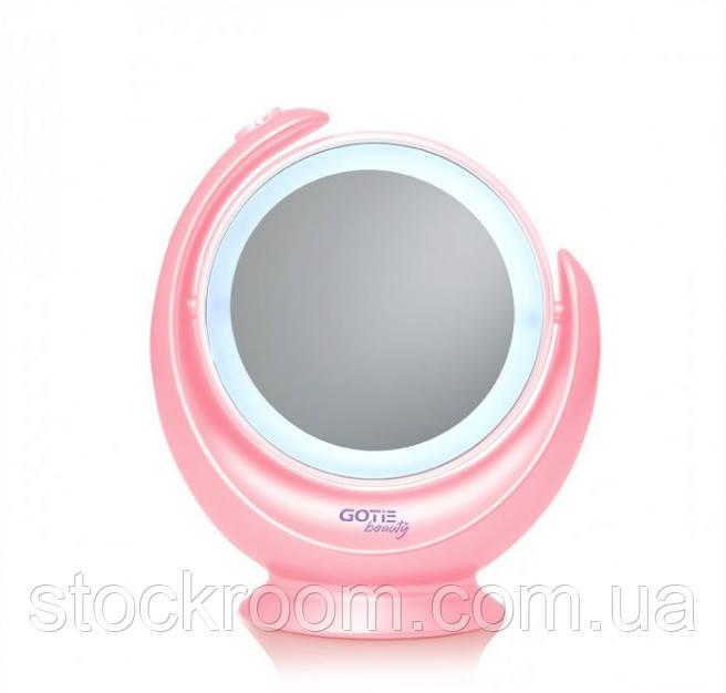 Двустороннее Косметическое зеркало GOTIE GMR-318 R с LED подсветкой (розовое)