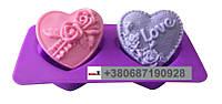 Пищевая силиконовая форма сердце с розами и словом Love