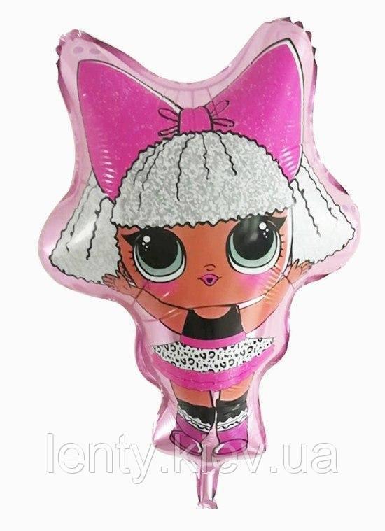 Куля фігура фольгована Лялька Лол з бантом / LOL (60см) Рожевий