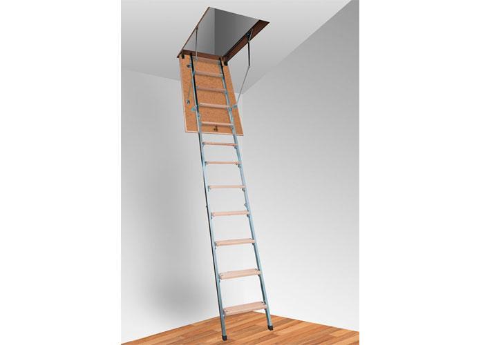 Комбіновані сходи на горище Altavilla Faggio Cold Metal 3S бук + метал 3-х секційні