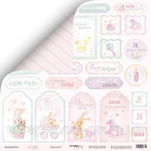 Лист двусторонней бумаги 30x30 от Scrapmir Карточки 2 из коллекции Little Bunny