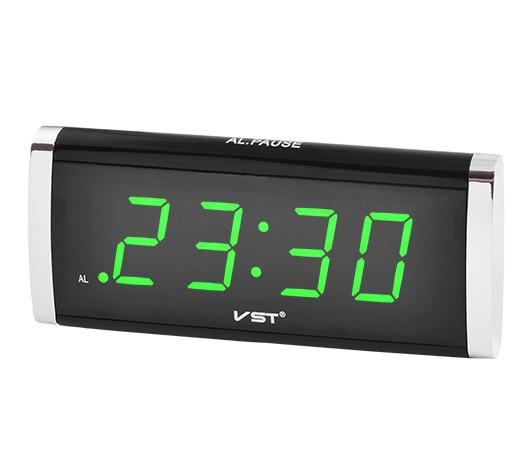 Часы сетевые VST 730-4 с салатовой подсветкой