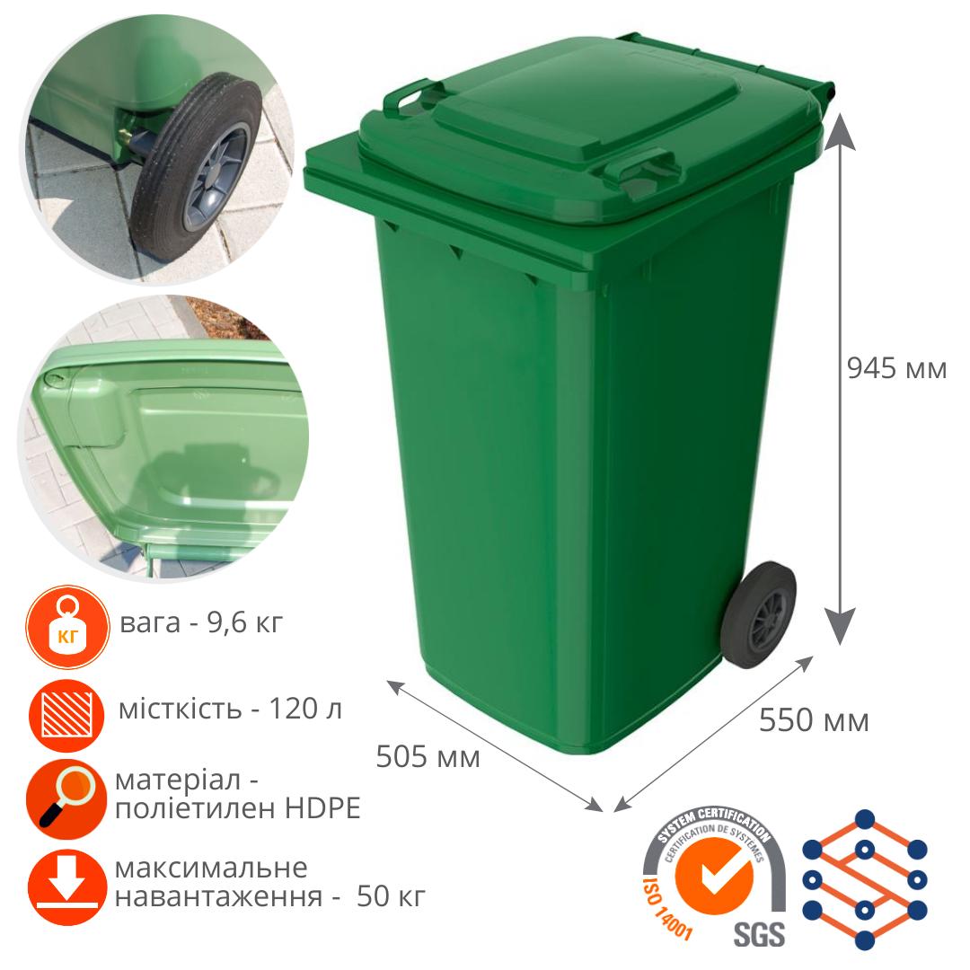 Мусорные баки для ТБО 120 л Германия зеленый