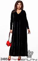 Платье вечернее бархатное чёрное в пол батал