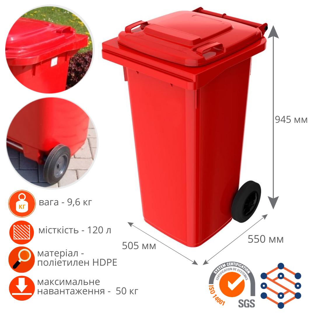 Мусорный бак для ТБО 120 л Германия красный