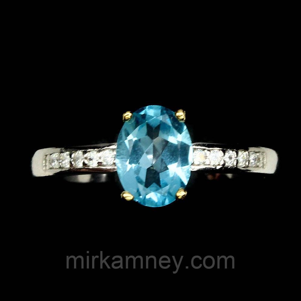 Кільце Блакитний Топаз (Африка). Розмір 17. Срібло 925, покриття золотом 14 карат.