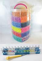 6 этажный набор резинок 16000 для плетения браслетов +станок профессиональный