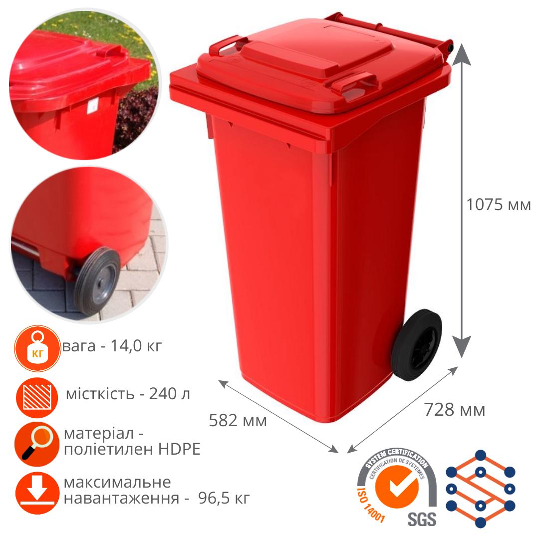 Мусорный контейнер для ТБО 240 л Германия красный