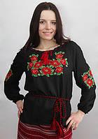 """Жіноча вишиванка чорна """"Маки"""", фото 1"""