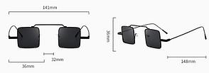 Красные солнцезащитные очки квадратной формы, золотая оправа, фото 2