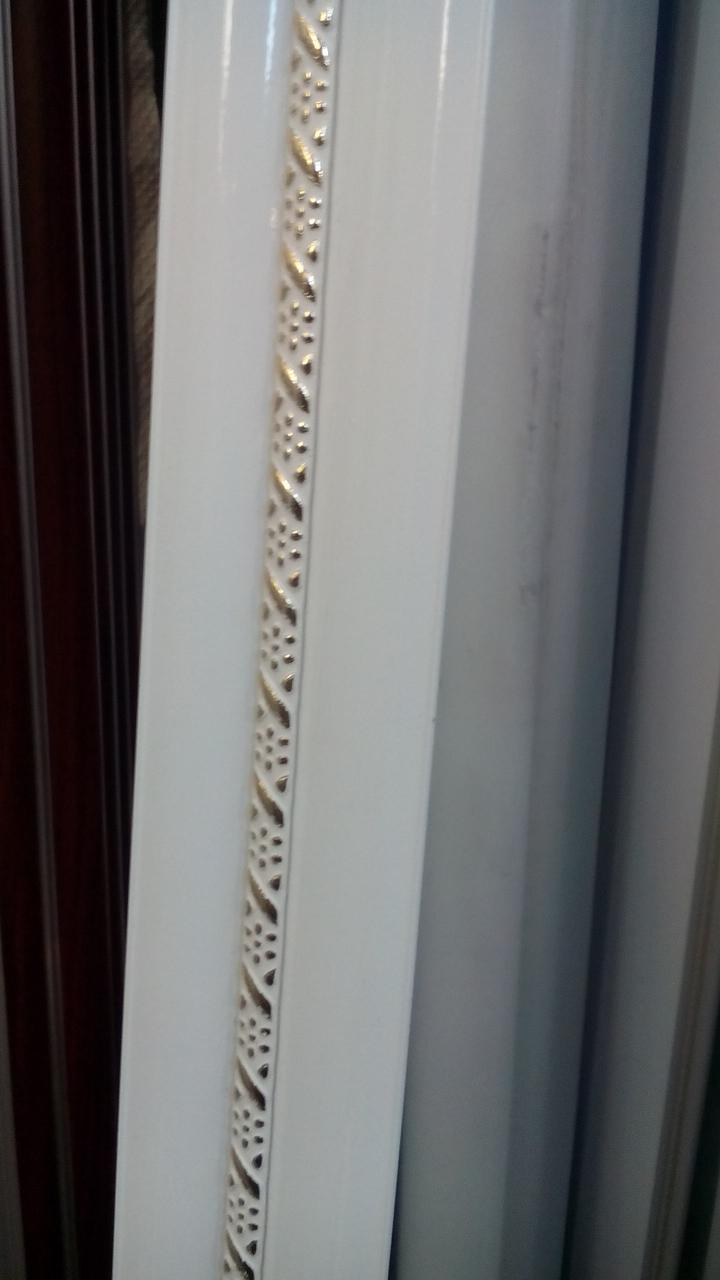 Карниз двойной  алюминиевый белый с одной косой-2,5м