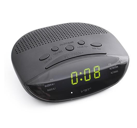 Часы сетевые 908-2 зеленые, радио FM