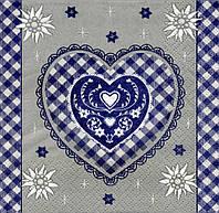 "№ 5 Салфетка для декупажа или сервировки стола ""Валентинка. Синее клетчатое сердце."""