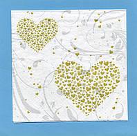 "№  7 Салфетка для декупажа или сервировки стола ""Валентинка. Сердце на белом."""