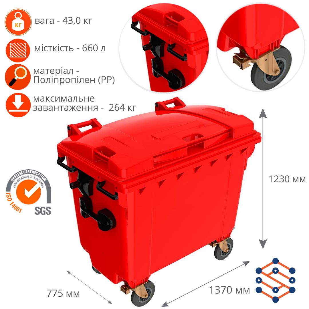 Пластиковый мусорный бак 660 л Германия красный