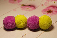Резинки из помпонов двойные желто-розовые