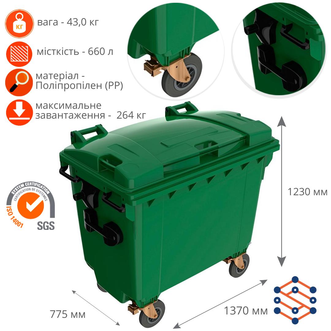 Пластиковый мусорный бак 660 л Германия зеленый