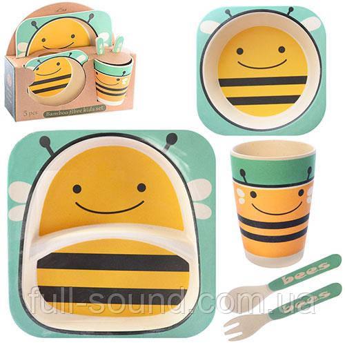 Набор детской посуды из бамбука пчелка
