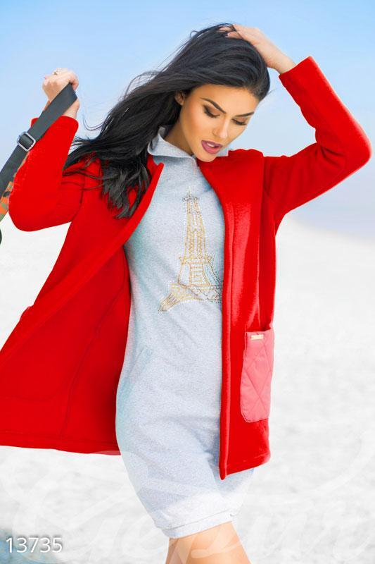 Красный флисовый кардиган без застежек