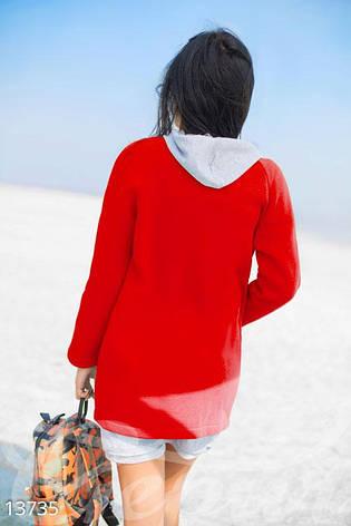 Красный флисовый кардиган без застежек, фото 2