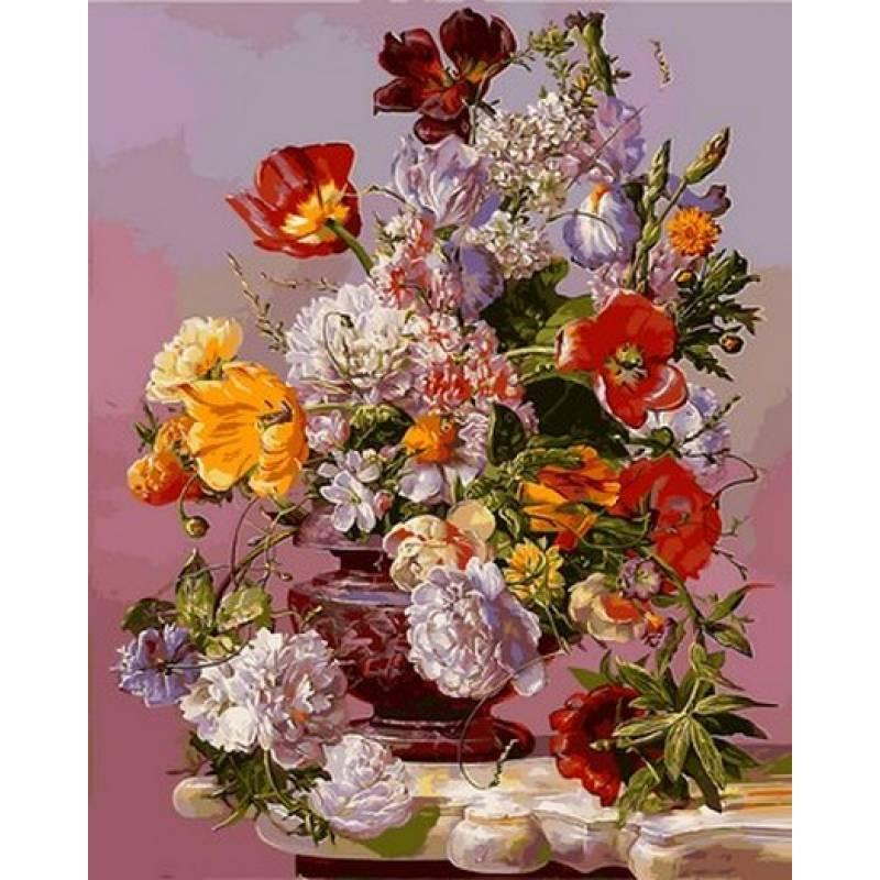 Картина по номерам Пионы на белом столике, 40x50 см., Babylon