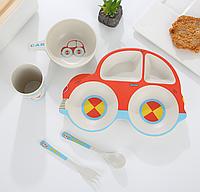 Эко-посуда детская из бамбукового волокна, 5 предметов, автомобиль, красный.
