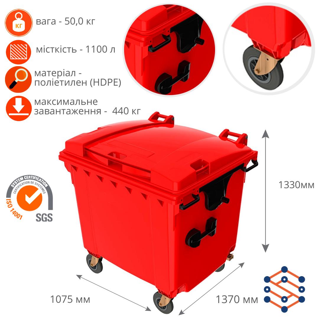 Пластиковый мусорный бак 1100 л с плоской крышкой Германия красный