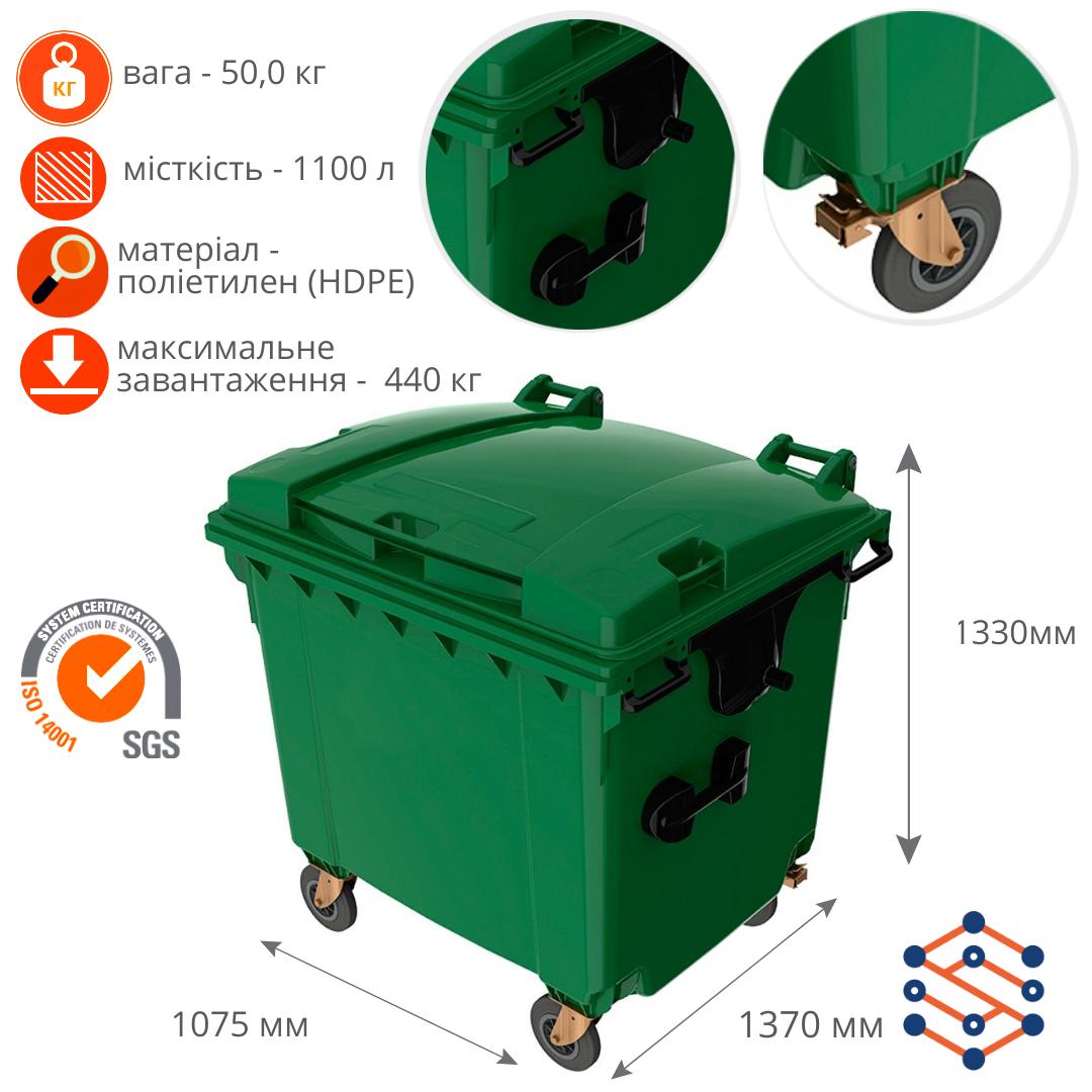 Пластиковый мусорный бак 1100 л с плоской крышкой Германия зеленый