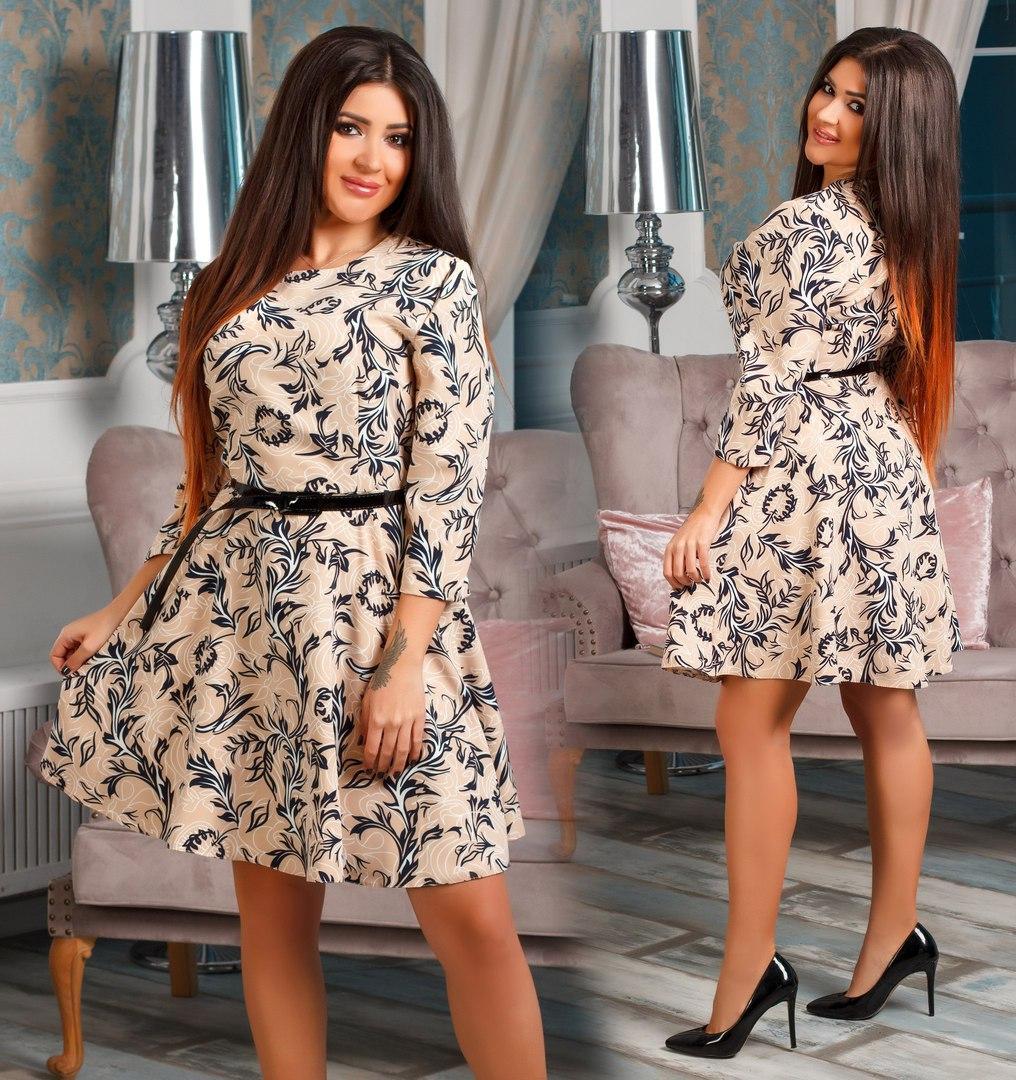 Платье больших размеров от 48 до 52 с принтом, , расклешенная юбка код 509/41а
