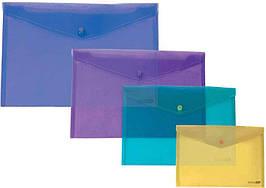 Папка-конверт на кнопці Economix 31301, А4, прозора, 180 мкм, глянець, асорті