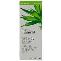 Ретиноловая сыворотка с гиалуроновой кислотой + витамин C, 5 мл, антивозрастная, InstaNatural