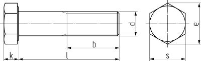 Описание: Болт с шестигранной головкой и неполной резьбой с мелким шагом резьбы DIN 960 (EN ISO 8765). Чертёж