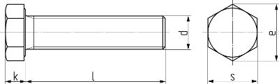 Описание: Болт с шестигранной головкой и полной резьбой с мелким шагом резьбы DIN 961 (EN ISO 8676). Чертёж