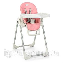 Стульчик ME 1038 PRIME Flamingo (1шт) для кормления,2колеса,рег.выс.и спинка,экокожа,розовый