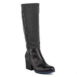 Сапоги женские S-But (черные, кожаные, модные, качественные)