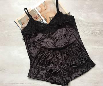 Пижама женская велюровая майка и шорты 016\1 черная