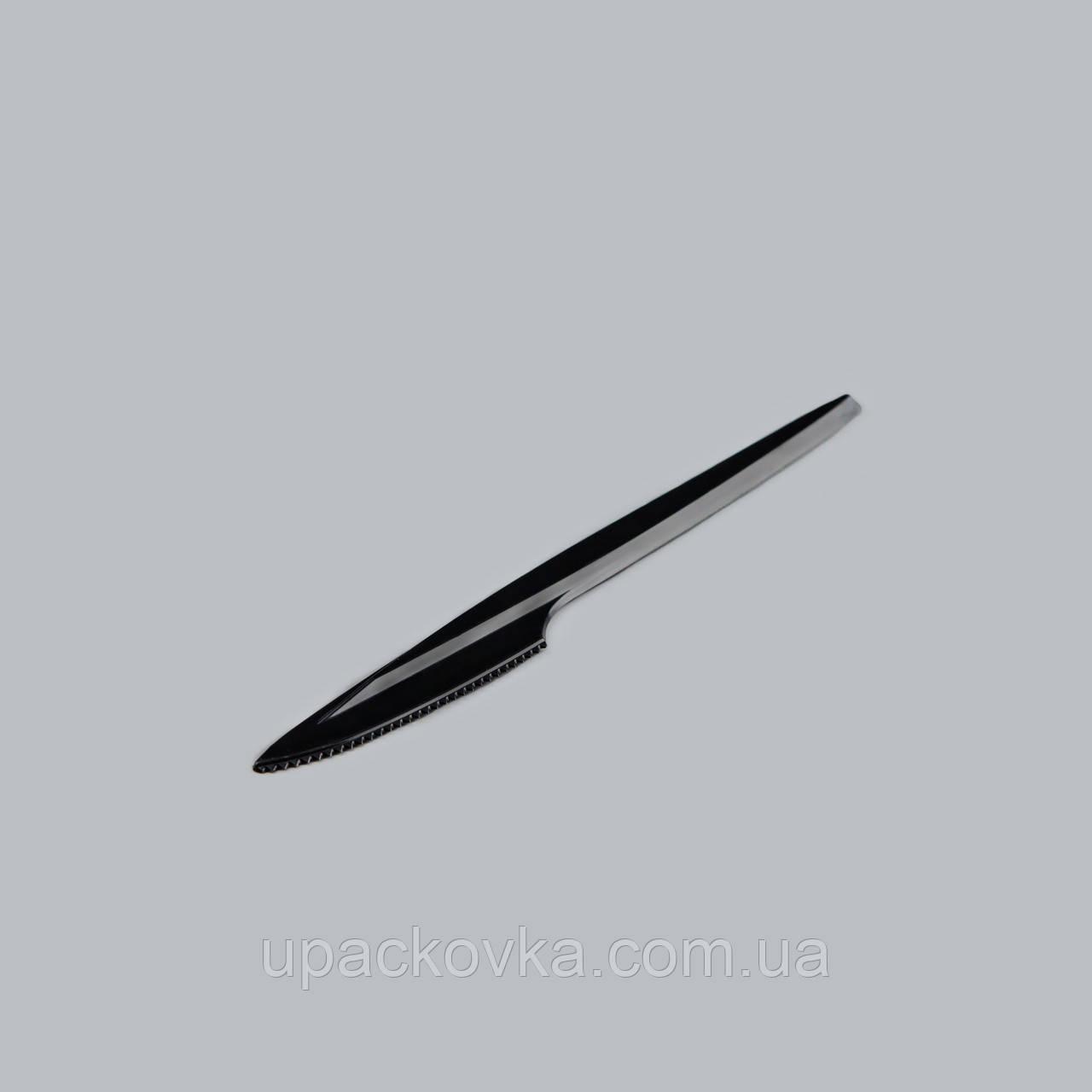 Нож столовая одноразовая Премиум Черная 16 см 100 шт в уп