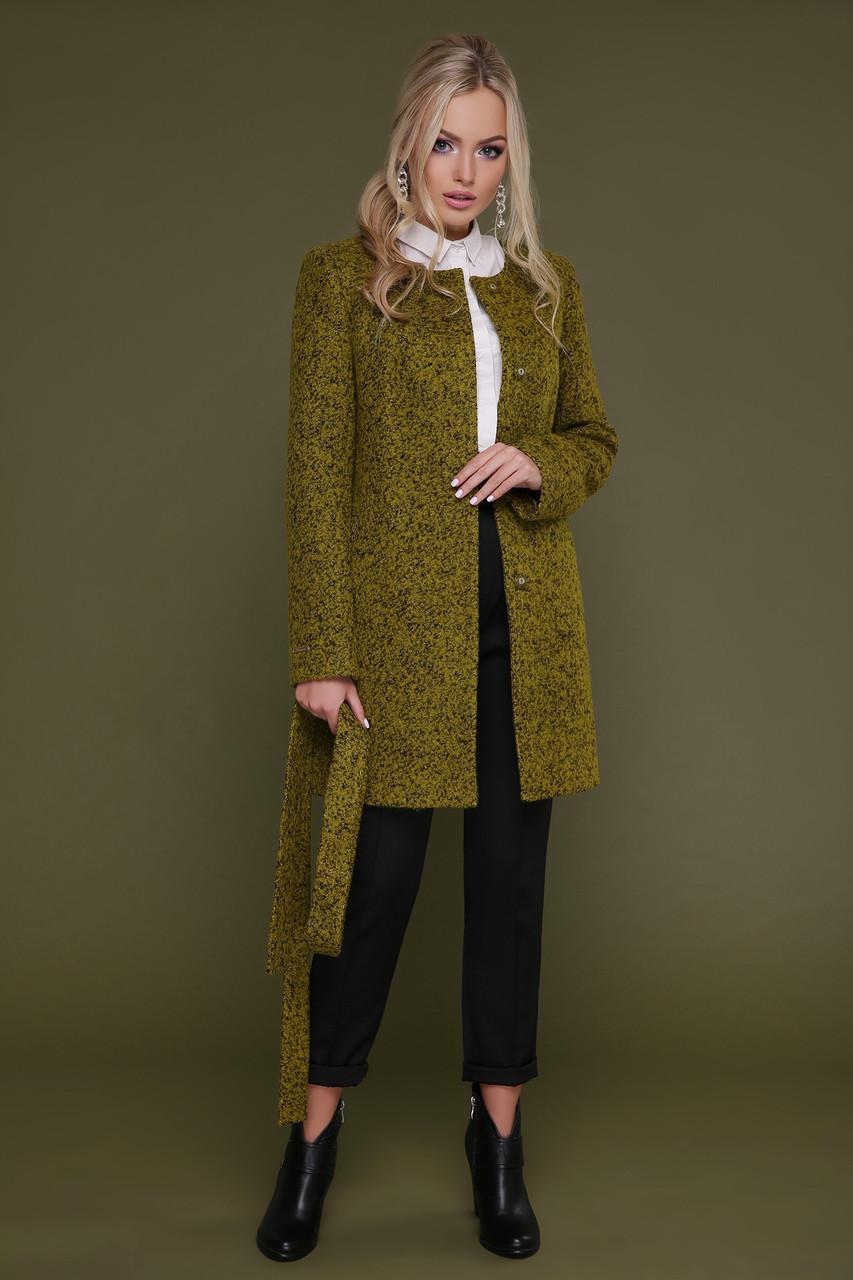 Новинка! женское демисезонное короткое пальто цвета карри , размер:40