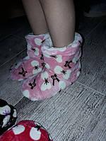Тапочки теплие детские УГГИ для девочки розовие в бантик на овчине 32\33 - 17см стелька, 34\35р - 19см стелька