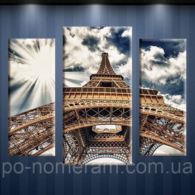 Алмазная живопись триптих Париж