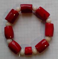 Браслет Коралл красный и белый натуральный Египет